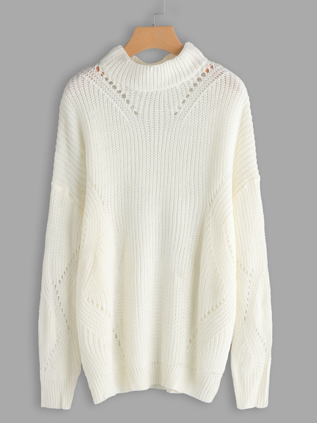 White Hollow Out Long Sleeves Fashion Sweater