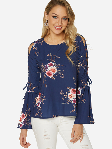 Navy Lace-up Design Random Floral Print Round Neck Long Sleeves Blouse