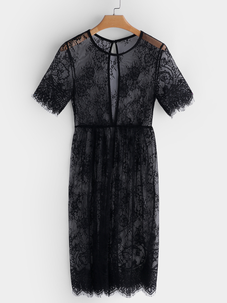 Black Short Sleeves See-through Lace Nightgown
