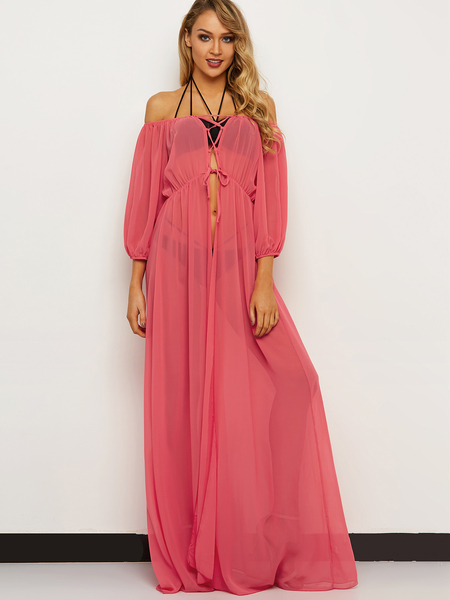 Watermelon Red Off Shoulder Long Sleeves Lace-up Design Maxi Beach Dress