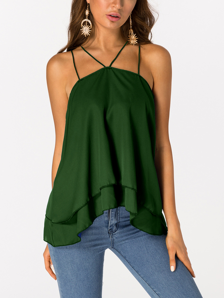 Army Green Tiered Design Sleeveless Cami