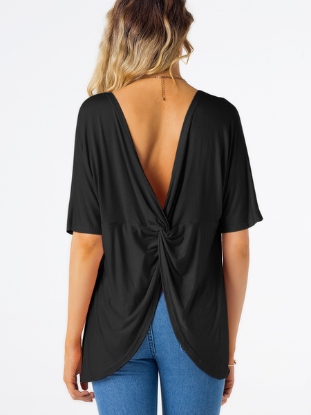 Black Backless Slit Design Plain Round Neck Short Sleeves T-shirt