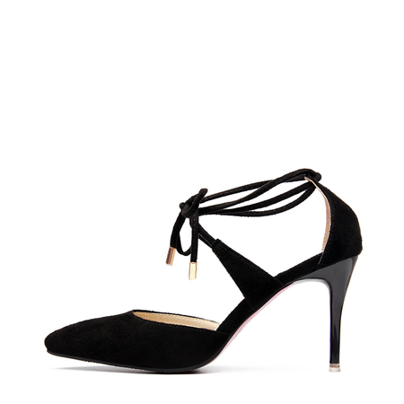 Black Suede Pointed Toe Lace-up Stiletto Heels