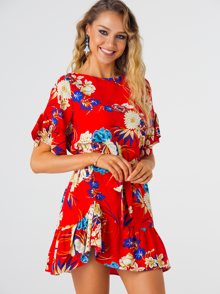 Red Random Floral Print Mini Dress With Half Flared Sleeves