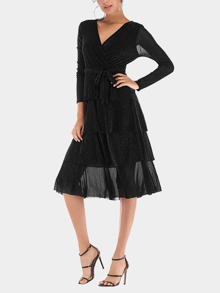 Black Fullness+layer Wrap Design Party Dresses with Belt