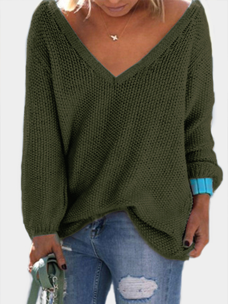 Army Green Classic Design Loose Plunge Sweater