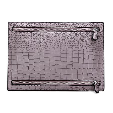 Croc Embossed Leather-look Clutch Bag in Purple