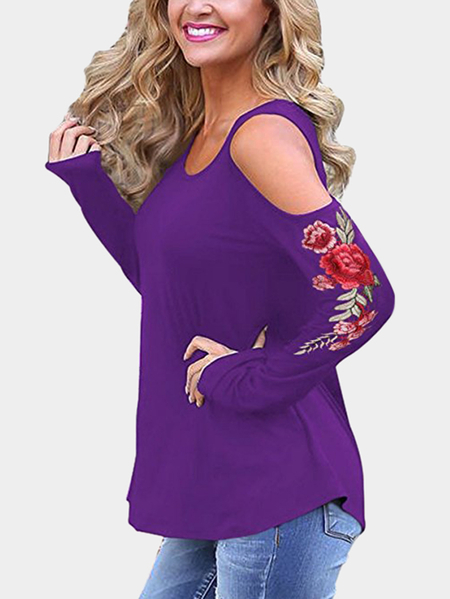 Purple Embroidered Cold Shoulder Long Sleeves T-shirts