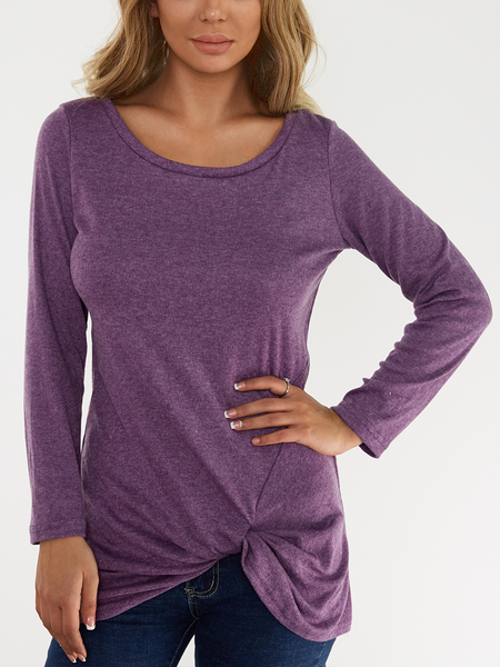 Purple Pleated Design Round Neck Long Sleeves T-shirts