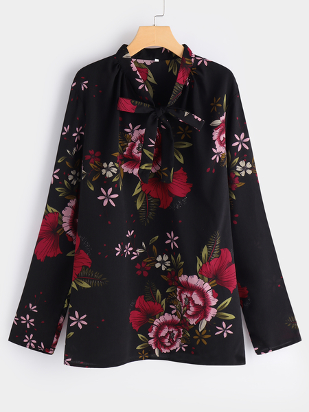 Plus Size Black Floral Print Tie Neck Blouse