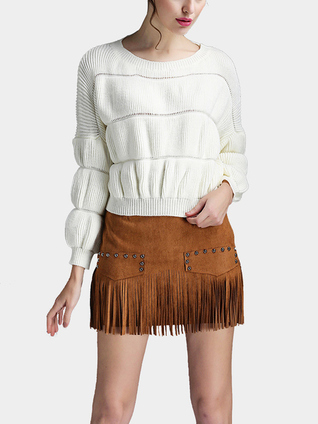 White Bubble Sleeve Jumper and Tassel Rivet Mini Skirt