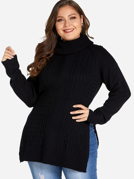 Plus Size Black Split Hem High Neck Sweater