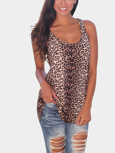 Leopard Print Tank Top with Curved Hem
