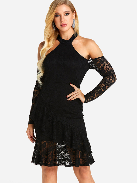 Black See-through Plain Cold Shoulder Halter Long Sleeves Lace Dress