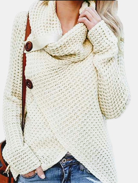 Beige Crossed Front Design Plain Roll Neck Long Sleeves Sweaters