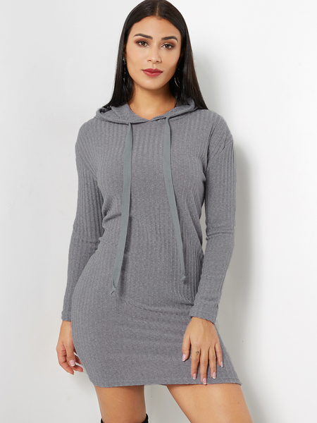 Grey Hooded Design Long Sleeves Knitted Dress