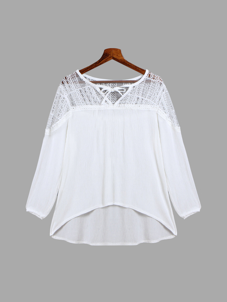 Lace Insert Strappy Blouse with Long Sleeves