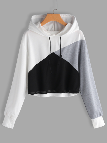 Color Block Hooded Design Long Sleeves Hoodie