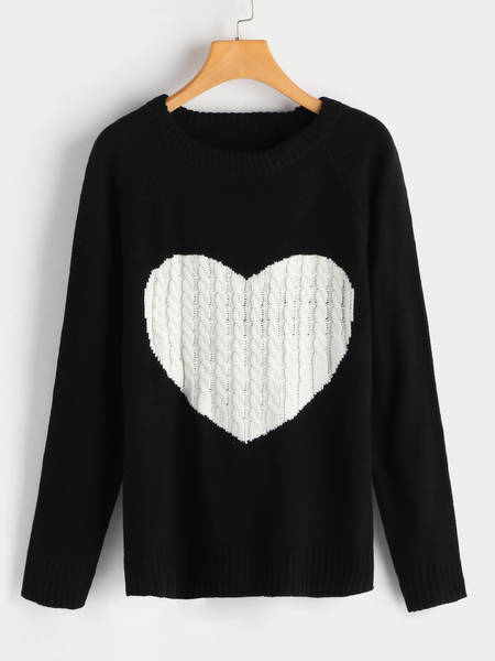 Black Heart Hattern Round Neck Long Sleeves Knitted Sweater