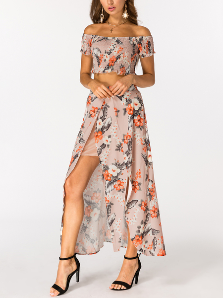 Random Floral Print Off the Shoulder High Slit Two Piece Outfits