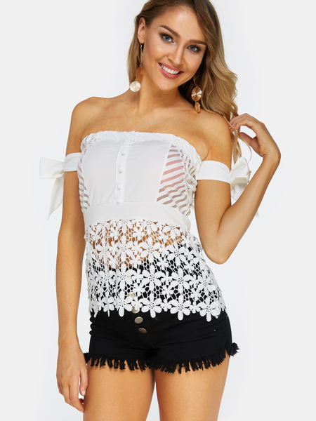 White Lace Off The Shoulder Sleeveless Blouses