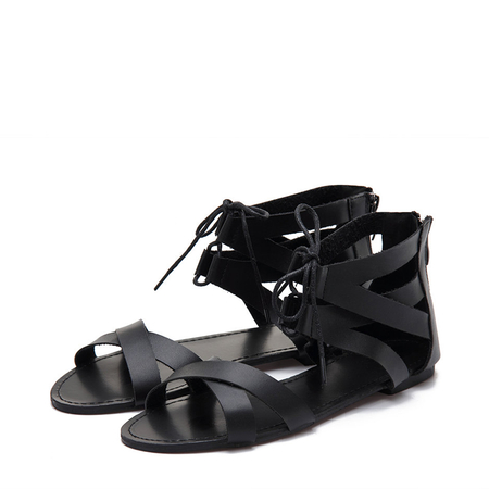 Yoins Black Leather Look Cross Strap Zipper Back Lace-up Sandals