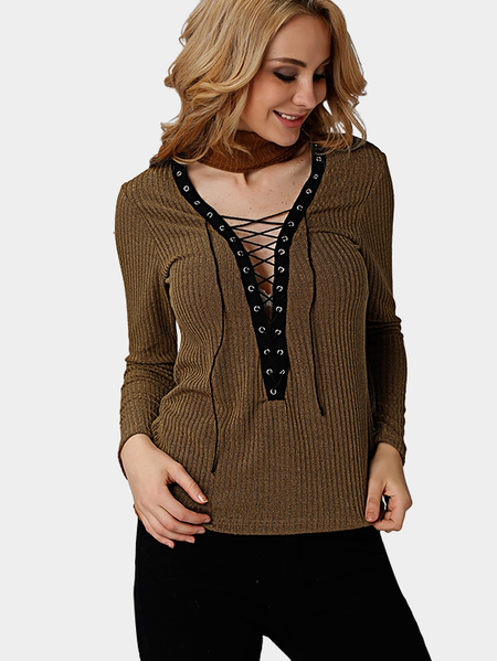 Brown Blue Sexy Knitted Roll Neck Hollow Lace-up Front Jumper