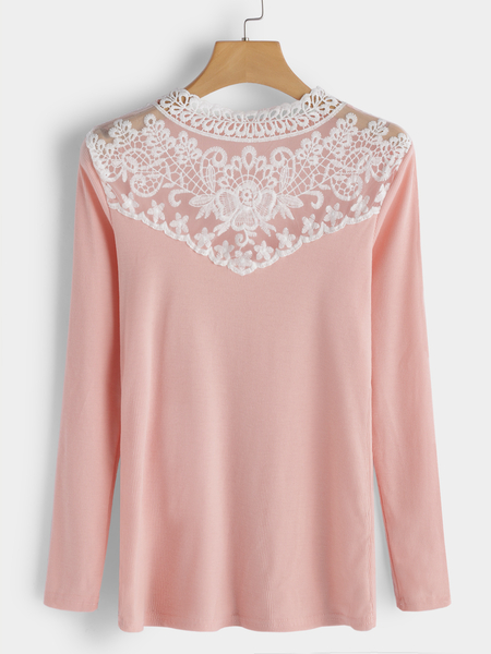 Pink Lace Insert Round Neck Long Sleeves T-shirts