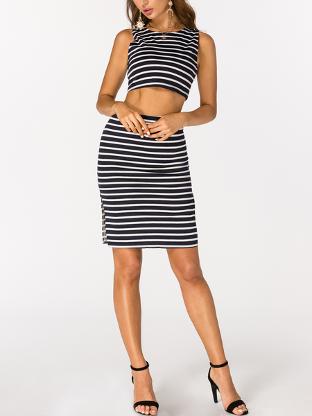 Navy and White Stripe Crop Top and Skirt Co-ord