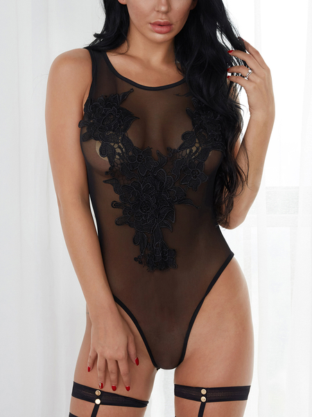 Black See-through Lace-applique Teddy Lingerie