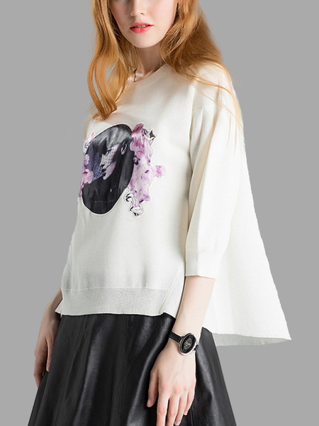 Floral Printing Knitted Jumper in White