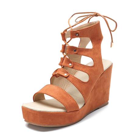 Brown Suede Lace-up Design Wedge Sandals
