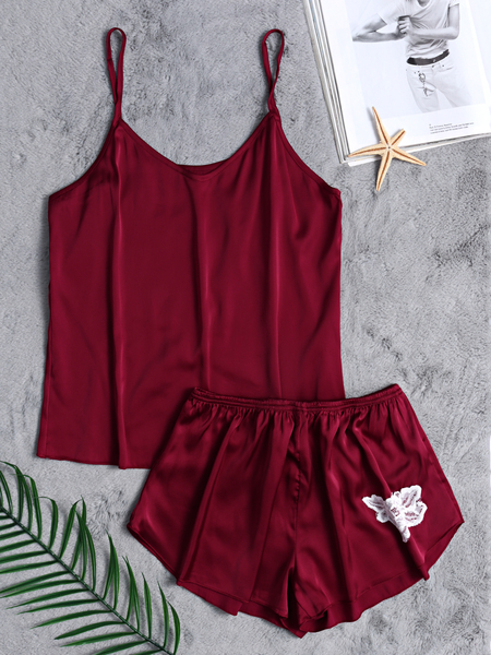 V-neck Silk Material Pajamas Set in Burgundy