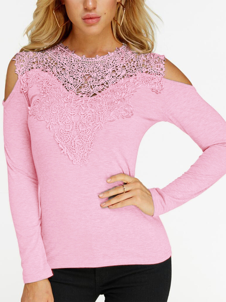Pink Lace Insert Cold Shoulder Long Sleeves Fashion T-shirt