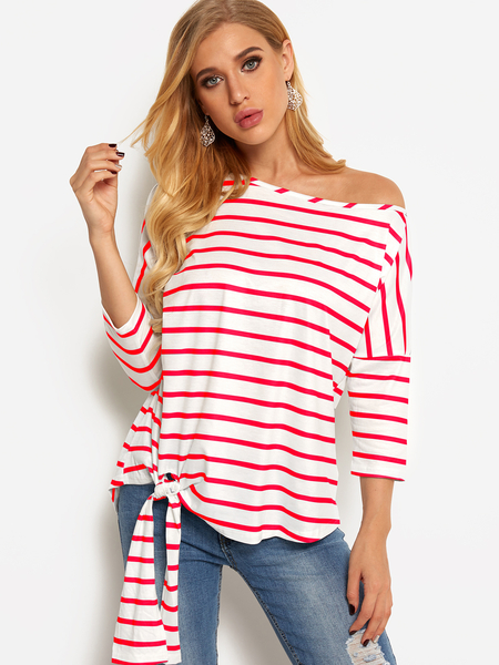 Red Self-tie Design Stripe One Shoulder Design Long Sleeves Blouses