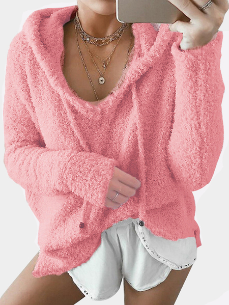 Pink Mohair Pullover Drawstring Hoodie