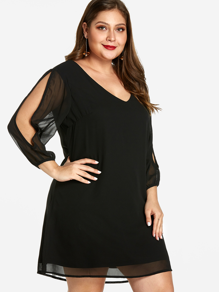 Plus Size Black Split Sleeves Mini Dress