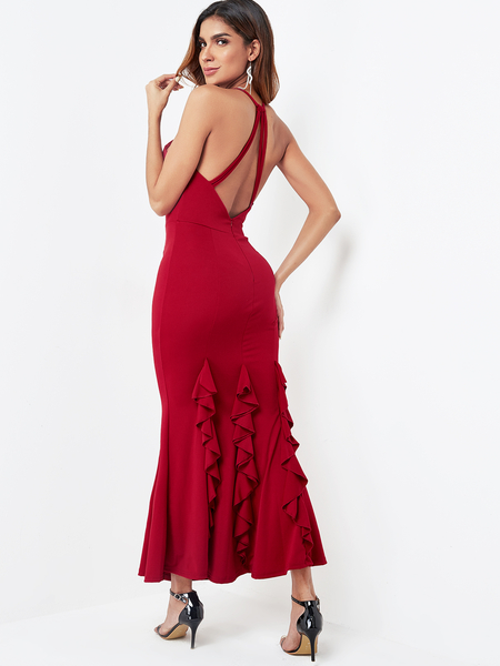 Burgundy Backless Design Halter Maxi Dress