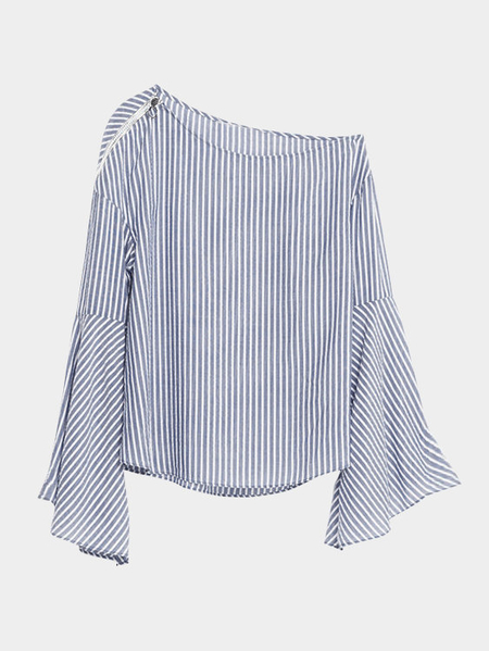 Yoins Flared Sleeves Stripe Pattern Zipper Details Special Neck Blouse