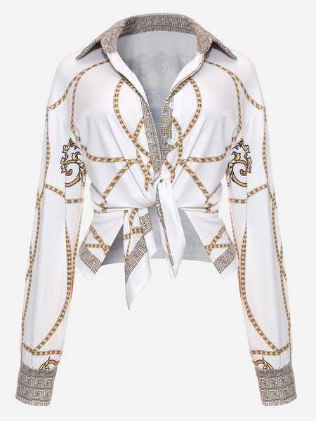White Vintage Inspired Floral Print Tie-up Front Long Sleeve Shirts