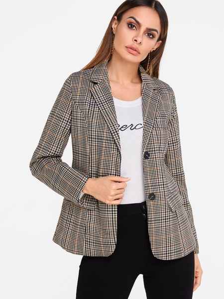 Grid Single Breasted Lapel Collar Patch Pockets Long Sleeves Blazer