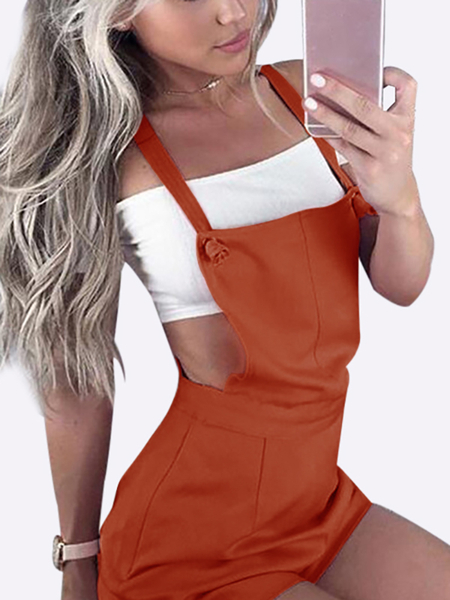 Casual Tie-Strap Playsuits in Rusty Red