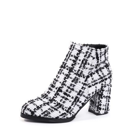 White Lattice Zip Design Antiskid Ankle Boots