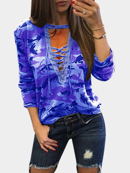 Light Blue Sexy Camouflage Pattern V-neck Lace-up Front Top