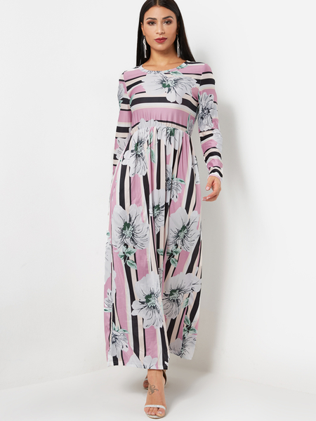 Round Neck Long Sleeve Random Floral Print Maxi Prom Dress in Pink