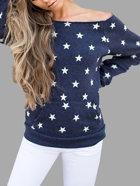 Star Print Off-shoulder Sweatshirt With Pouch Pocket