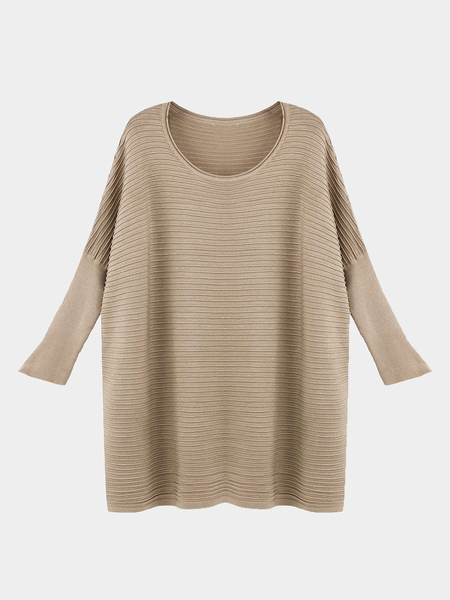 Oversized Dolman Sleeve Jumper in Khaki