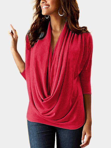 Red Drape Sagging 3/4 Length Sleeves T-shirt