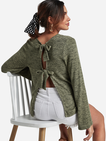 Green Self-tie Design Round Neck Backless Top