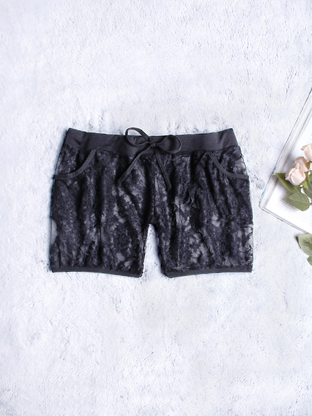 Black Drawstring Waist Lace Panties